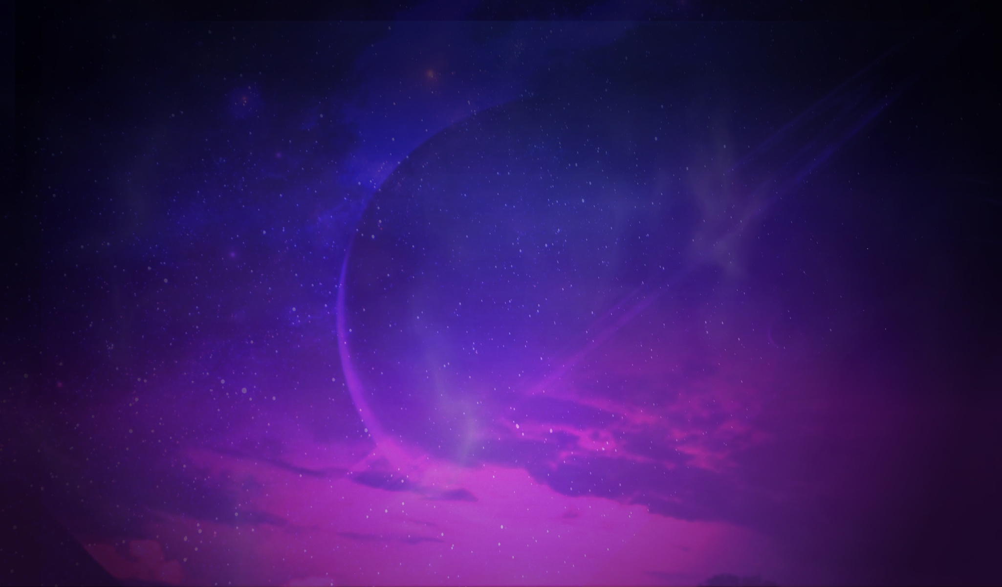Purple space sky with big planet